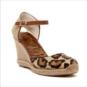 Sam Edelman Leopard Espadrille Wedge Sandal Size 8